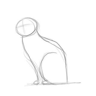 Removed the basic shapes let's work on the posture of our cat.  Sketch in the front legs (really a simple line)...