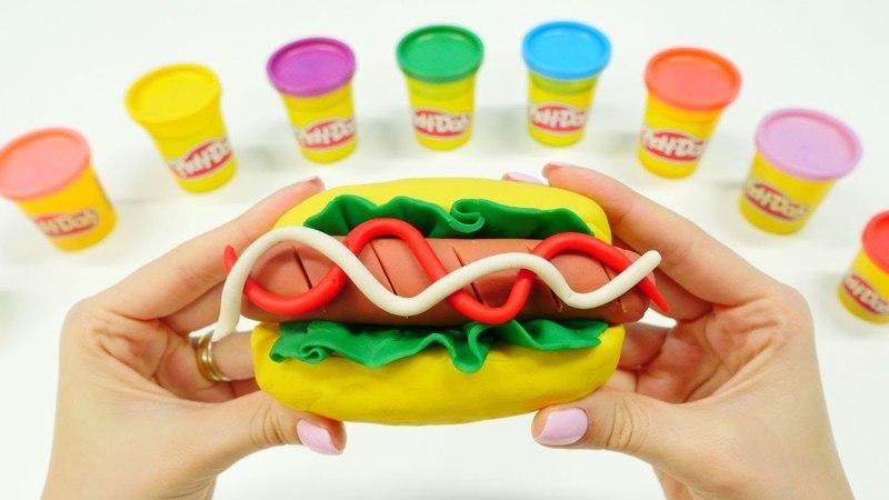Play Doh oyun hamurundan sosisli sanviç yapalım