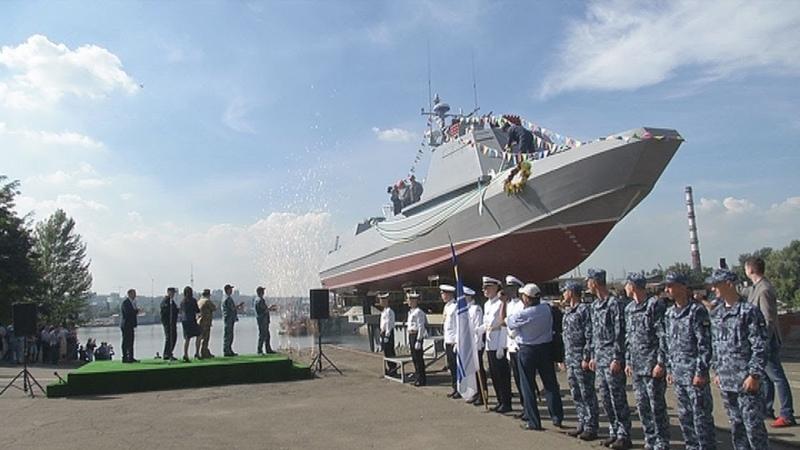 """Спуск на воду десантно-штурмового катера """"Кентавр""""."""