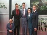 Save to Board Noel Fisher, Pete Ploszek, Alan Ritchson, Jeremy Howard, and Danny Woodburn at the 'Teenage Mutant Ninja Turtles'