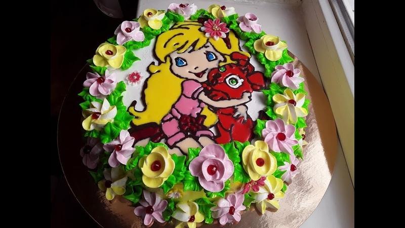 Торт раскраска для девочки