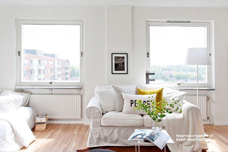 Простой и свежий интерьер квартиры 31 м в Лунде / Швеция - http://kvartirastudio.