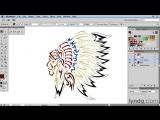 Lynda - Artist at Work - Native American Tribal Illustration 018 Colorizing the vector image