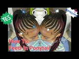 #5. How to Feed-in Genie Ponytail with a dab of red &amp swirled edges. Braided Ponytail.