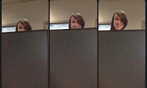 Я слишком маленького роста, чтобы видеть через перегородки в офисе, поэтому я сделала фото своего ли… (1 фото) - картинка
