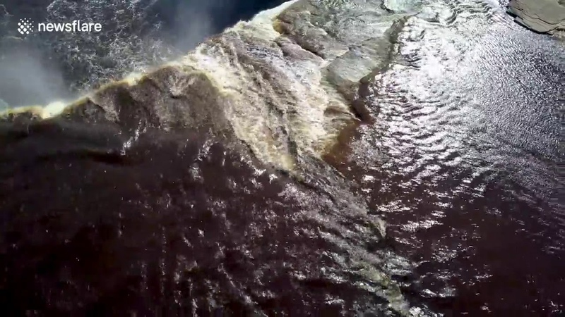 ★ LiveLeak || Incredible drone footage shows kayaker going off 110ft waterfall