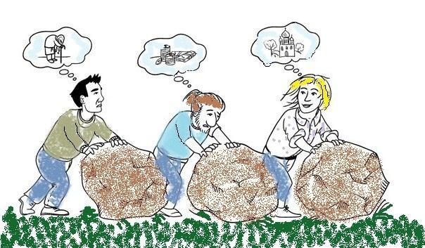 Три человека ворочали камни. У каждого спросили:  Что ты делаешь