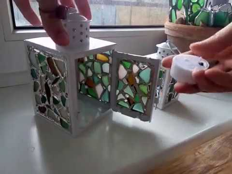 Lantern tealight candle holder with sea stained glass panels