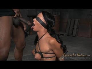 Tan brunette London River in her first BaRS show, tight bondage, brutal deepthroat, rough fucking BDSM, Bondage, All sex